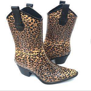 Western Style Leopard Rain Boot (Sz 6)
